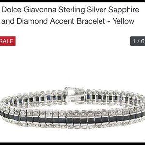 Sapphire & Diamond Sterling Silver Bracelet 7 inch